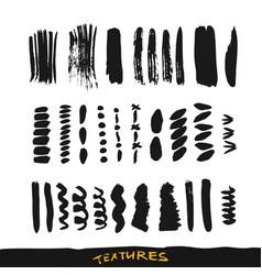 grunge ink brush strokes design elements vector image