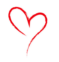 hand-drawn sketchy doodle red heart on white vector image vector image