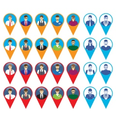Male and female faces icons with GPS sign vector image vector image