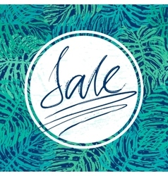Sale lettering on jangle leaves background vector image
