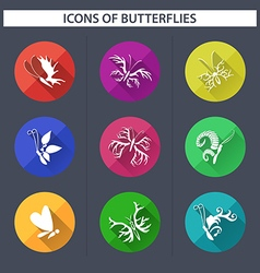 Set of butterflies icons with long shadow vector image