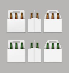 brown green bottles of beer with packaging vector image vector image