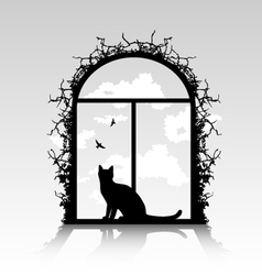 cat silhouette in the window vector image