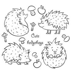 four cute hedgehogs vector image