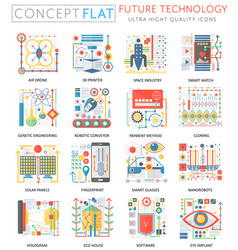 future technology concept icons vector image