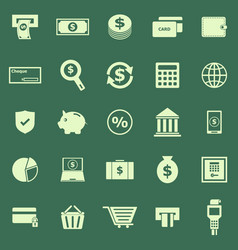 Payment color icons on green background vector