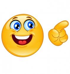 pointing emoticon vector image vector image