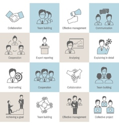 Teamwork icons line flat vector image vector image
