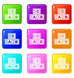 Abc cubes icons 9 set vector