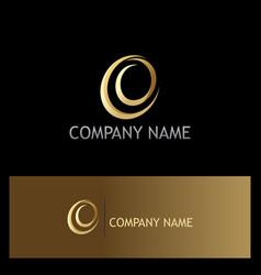 abstract circle letter e gold company logo vector image