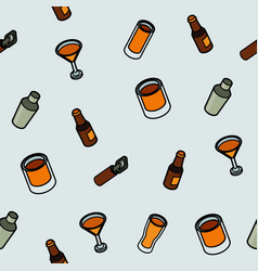 alcohol color outline isometric pattern vector image