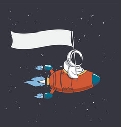 Astronaut holds a flag in rocket vector