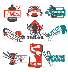 atelier and tailor service isolated icons vector image
