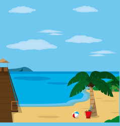 Beach with dock design vector