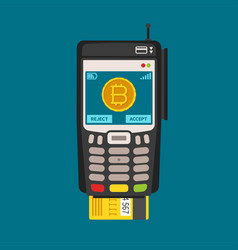 Bitcoin payment and exchange service concept flat vector