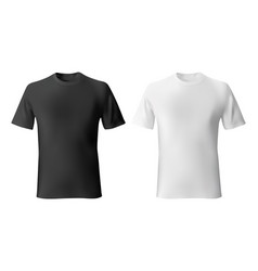 black and white mens t-shirt template realistic vector image