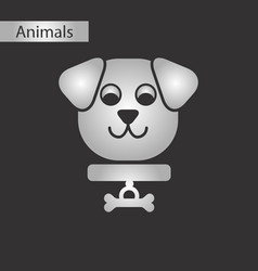 Black and white style icon dog vector