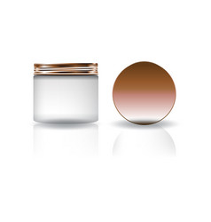 Blank white cosmetic round jar with copper lid in vector