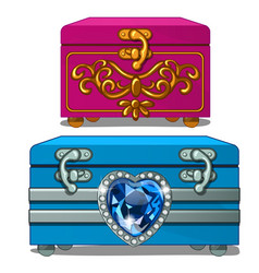 Box with gold ornate and box with sapphire heart vector