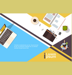 business workplace desk top angle view notebook vector image