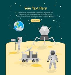Cartoon astronauts on moon surface landscape card vector