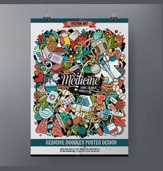 cartoon colorful hand drawn doodles medicine vector image