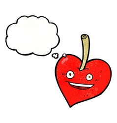 Cartoon love heart apple with thought bubble vector