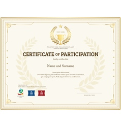 Certificate of participation template gold theme vector
