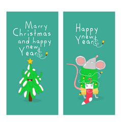 christmas tree and new years rat graphics vector image