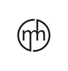 circle monogram mh letter logo vector image