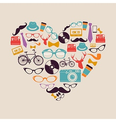 Colorful vintage hipsters love elements vector image