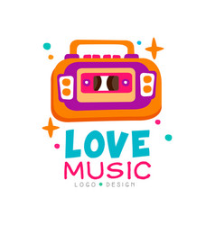 Creative music logo with bright-colored tape vector