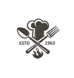 crossed spoon fork and chef hat vector image