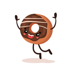 cute funny donut humanized dessert cartoon vector image
