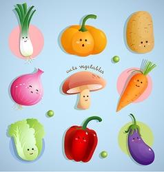 Cute vegetables characters vector