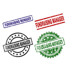Damaged textured fundraising manager stamp seals vector