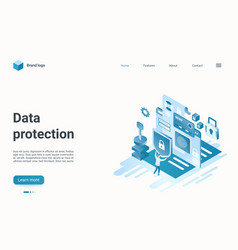 Data protection isometric landing page internet vector