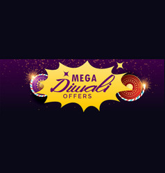 Diwali sale banner with crackers vector