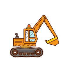Excavator construction machinery vector
