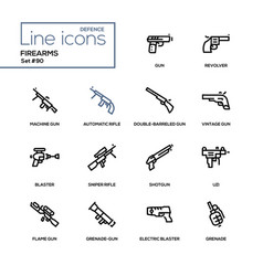 firearms - modern line design icons set vector image