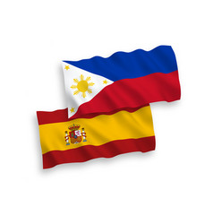 Flags philippines and spain on a white vector