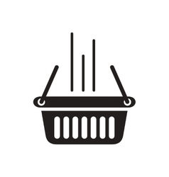 Flat icon in black and white shopping basket vector