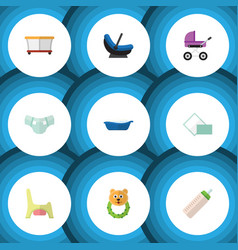 flat icon infant set of stroller playground vector image