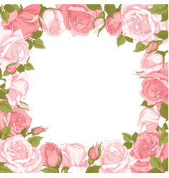 Floral frame with rose flowers vector