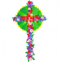 flowers cross vector image
