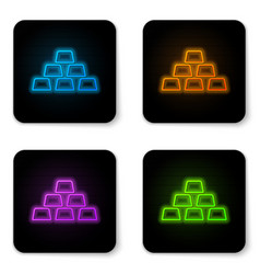 glowing neon gold bars icon isolated on white vector image