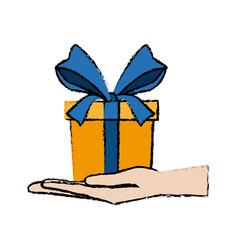 Hand holding yellow gift box image vector