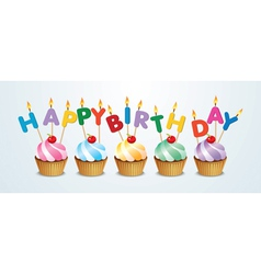 happy birthday cupcake vector image
