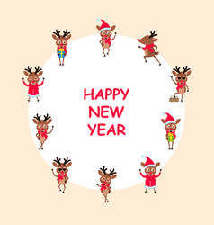 happy new year 2021 card set funny deers vector image