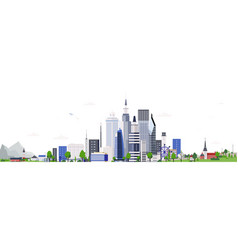 horizontal landscape with modern tall buildings of vector image
